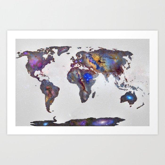 Stars world map art print by guidomontanes society6 stars world map art print gumiabroncs Image collections