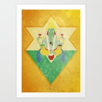 ganesha Art Prints featuring Ganesha... by Bastodesign