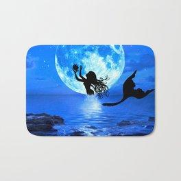 Moonlight Mermaid - Blue Bath Mat