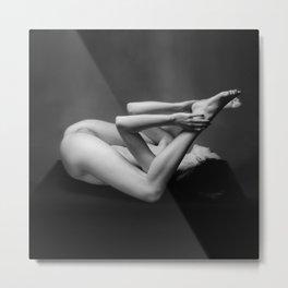 7485s-MAK BW Art Nude Flexible Woman On Back Kajira Metal Print