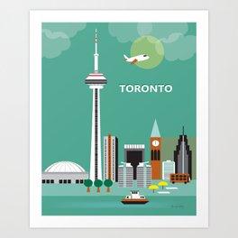 Toronto, Ontario, Canada - Skyline Illustration by Loose Petals Art Print