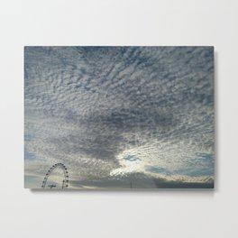 London Eye, Cloudy Sky Metal Print