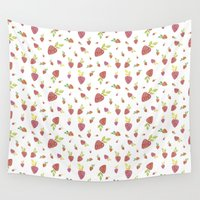strawberry Wall Tapestries featuring Strawberry by Juana Villegas Escobar
