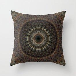 Mandala in brown tones Throw Pillow