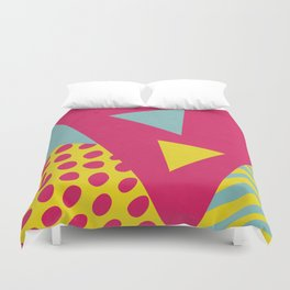 Pink Turquoise Geometric Pattern in Pop Art, Retro, 80s Style Duvet Cover