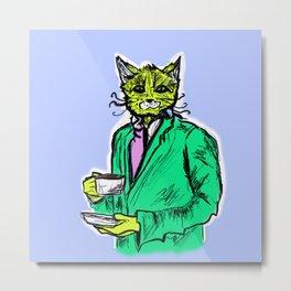 Coffee Cat Metal Print