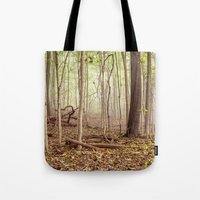 indiana Tote Bags featuring Indiana woods by Bonnie Jakobsen-Martin