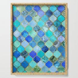 Cobalt Blue, Aqua & Gold Decorative Moroccan Tile Pattern Serving Tray