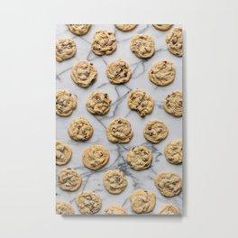 Chocolate Chip Cookies Marble Background Metal Print