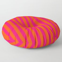 Orange Pop and Hot Neon Pink Vertical Stripes Floor Pillow