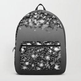 Black & Gunmetal Gray Silver Glitter Ombre Backpack