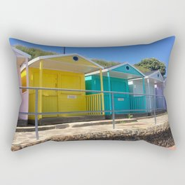 Rainbow Beach Huts Rectangular Pillow