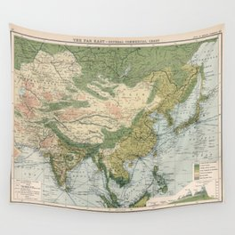 Old Asia Commercial Shipping Routes Map (1907) Vintage Eastern Hemisphere Ports Chart Wall Tapestry