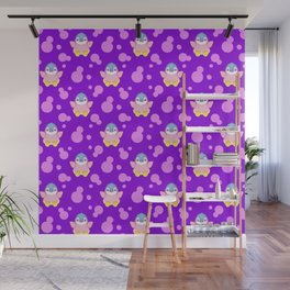 Cute happy little baby penguins flapping wings, bold pink retro dots pretty purple girly pattern Wall Mural