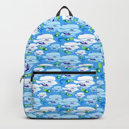 Pattern with fishermen in boats (blue version) Backpack