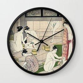 Interior of a Bathhouse by Torii Kiyonaga - Japanese Woodblock Wall Clock