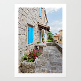 Town of Hum old cobbled street view Art Print