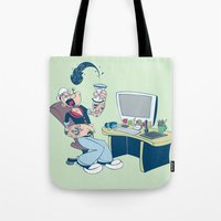 popeye Tote Bags featuring Popeye by Kalablu Studio
