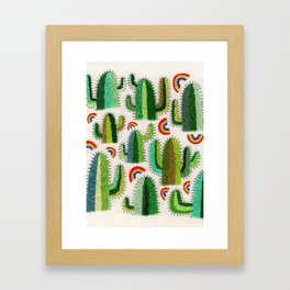 Cacti and Rainbows Framed Art Print