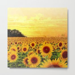 Fields of Gold Sunflowers at first morning light landscape painting Metal Print