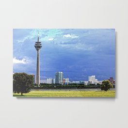 Dusseldorf with TV-Tower, Gehry-Buildings, River Rhine and Trees Metal Print