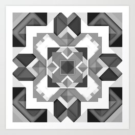 Black and White Geometric Geometry Mandala Diamond Square Pattern Graphic Art Print