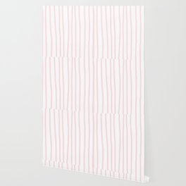 Simply Drawn Vertical Stripes in Flamingo Pink Wallpaper