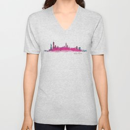 New York NYC City Skyline v05 Pink Violet Unisex V-Neck