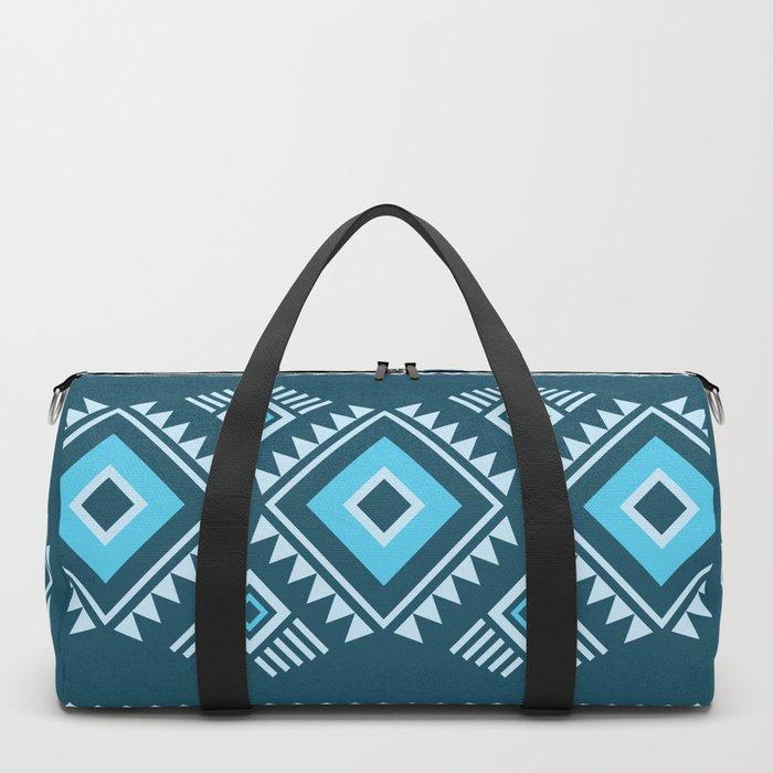 Blue geometric pattern Duffle Bag