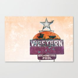 Vintage Neon Sign - The Western - Tucson Canvas Print