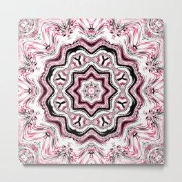 Pink and Black Kaleidoscope Metal Print