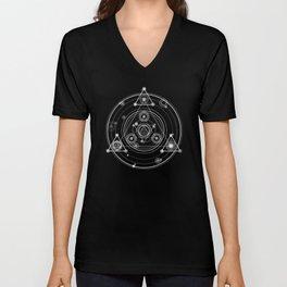 Sacred geometry black and white geometric art Unisex V-Neck