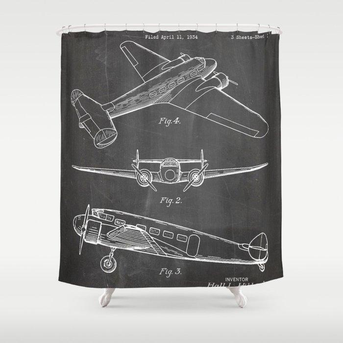 Lockheed Airplane Patent - Electra Aeroplane Art - Black Chalkboard Shower Curtain