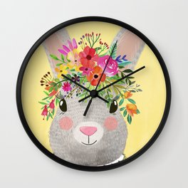 Rabbit with floral crown Wall Clock