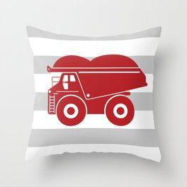 Red Dump Truck on Gray Stripes Throw Pillow
