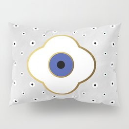 Mati Evil eye protection floral pattern on white Pillow Sham