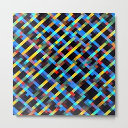 geometric pixel square pattern abstract background in blue yellow red orange Metal Print