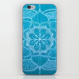 Teal & White Hand-drawn Mandala iPhone Skin