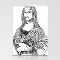 mona lisa Stationery Cards featuring Mona Lisa by April Gann