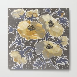 Blue Yellow and Gray Windflowers Metal Print