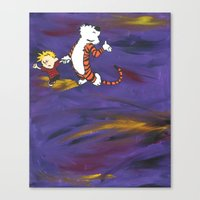 calvin and hobbes Canvas Prints featuring Calvin & Hobbes - Purple by Always Add Color