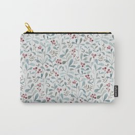Winter flora - watercolor red berries and mistletoe leaves Carry-All Pouch