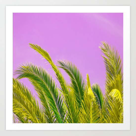 Green palm leaves on a pink background - #Society6 #Buyart Art Print