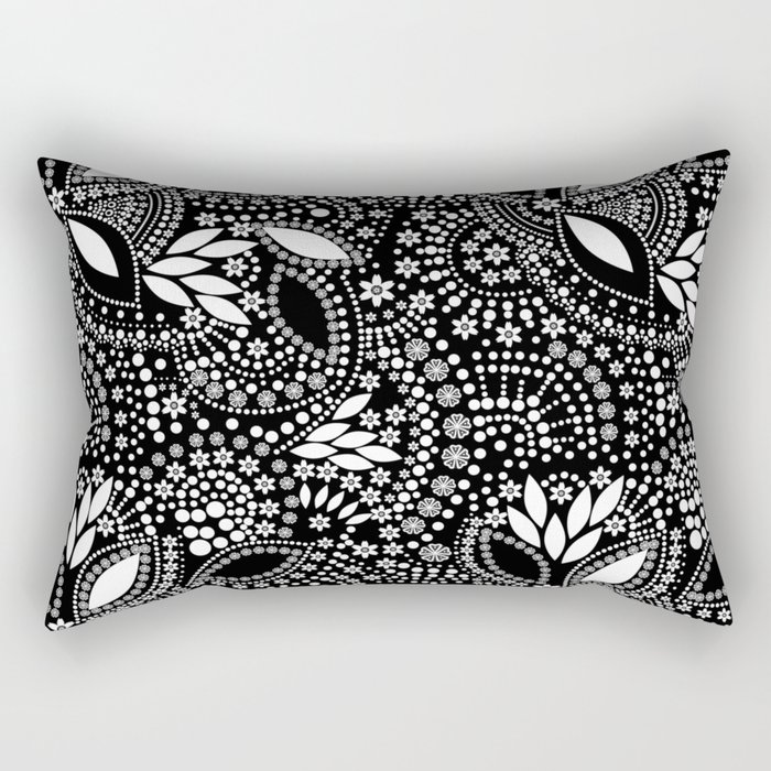 Placer of white beads on a black background . Rectangular Pillow