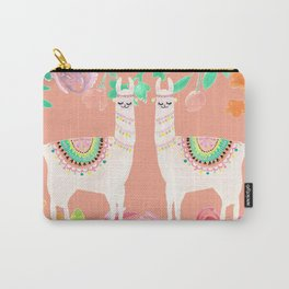Llama in a floral frame Carry-All Pouch