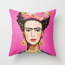 Pink Glow Frida Throw Pillow