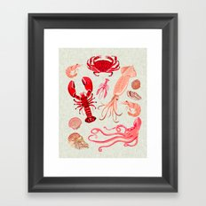 Crustaceans sea life illustration by Andrea Lauren Framed Art Print