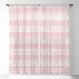 Pink and white Greek wave ornament pattern Sheer Curtain