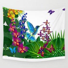 Tropical Hummingbird Pattern 1 Wall Tapestry