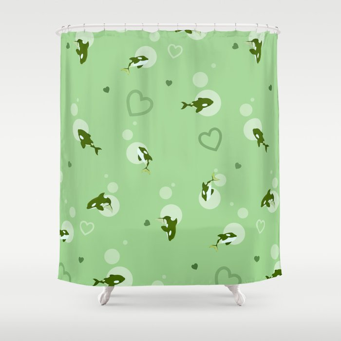 Green Orca Shower Curtain By Bloomejasmine